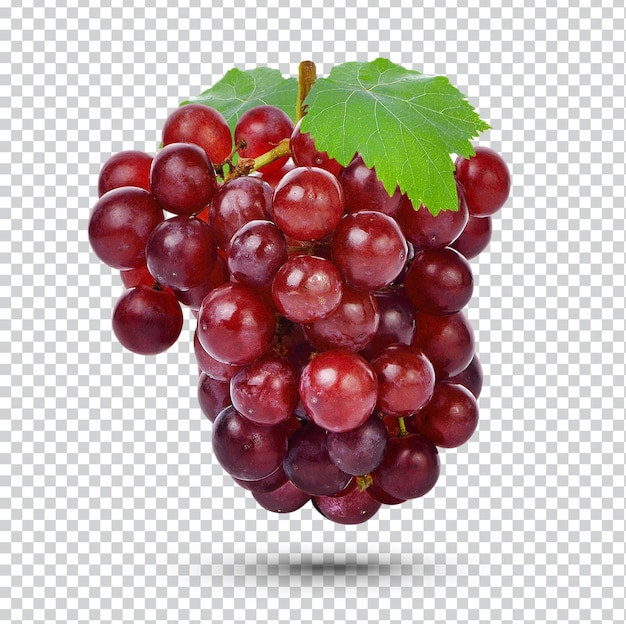 Fresh red grape with leaves isolated