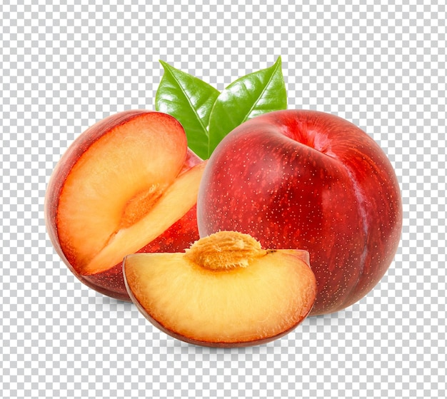 Fresh red plum with leaves isolated premium psd