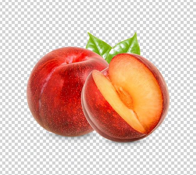 葉が分離された新鮮な赤いプラムプレミアムpsd
