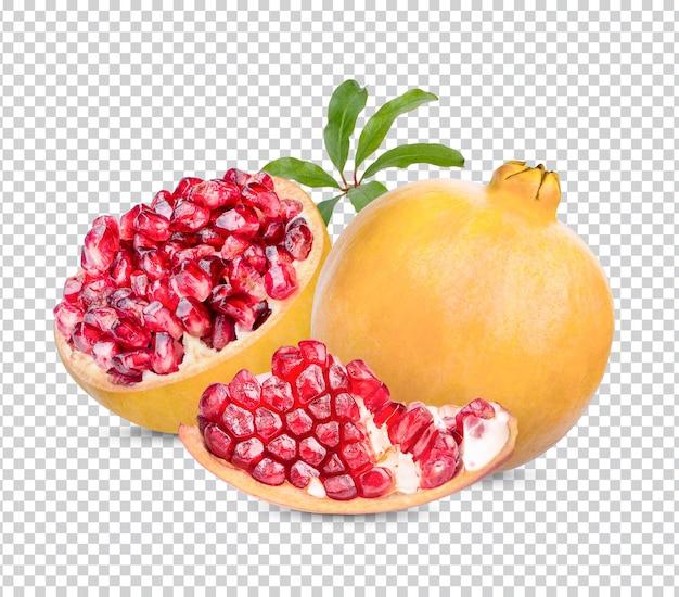 고립 된 잎으로 신선한 익은 석류 프리미엄 psd
