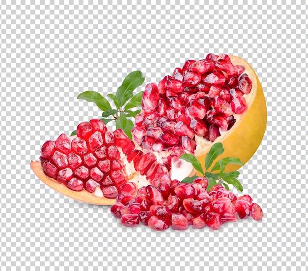 고립 된 잎으로 신선한 익은 석류 premium psd