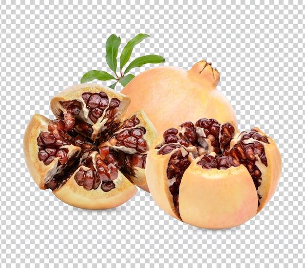 葉が分離された新鮮な熟したザクロプレミアムpsd