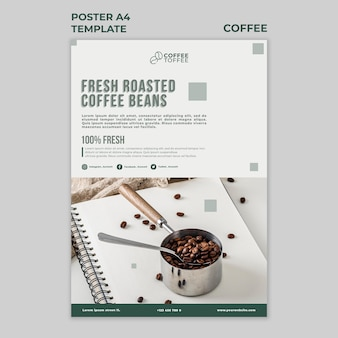 Fresh roasted coffee beans poster template