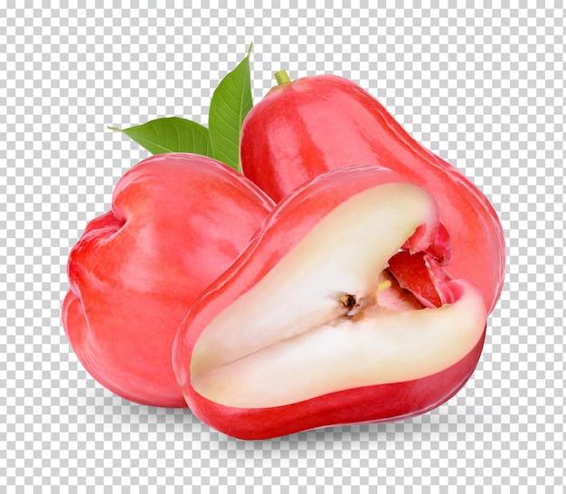 Свежее розовое яблоко с изолированными листьями premium psd