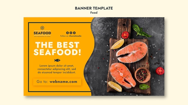 Fresh seafood banner template Free Psd