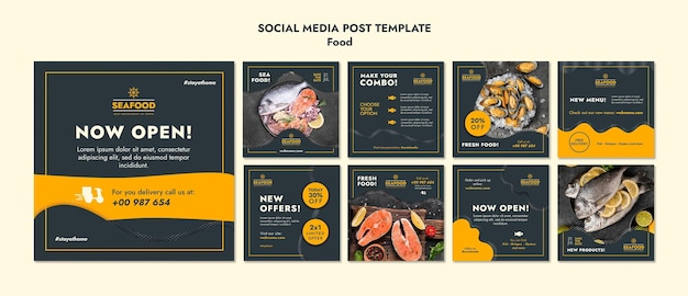 Fresh seafood social media post template