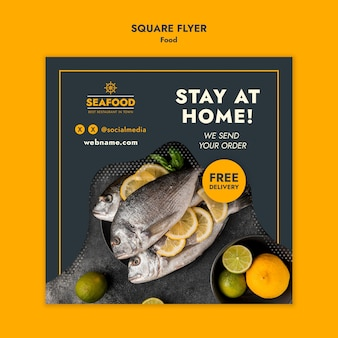 Fresh seafood squared flyer template