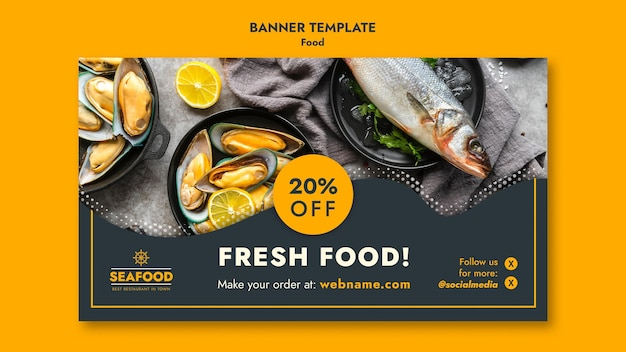 Fresh seafood with discount banner template