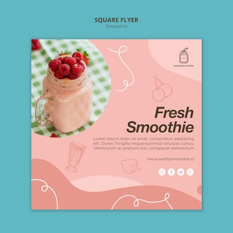 Fresh smoothie square flyer template with photo