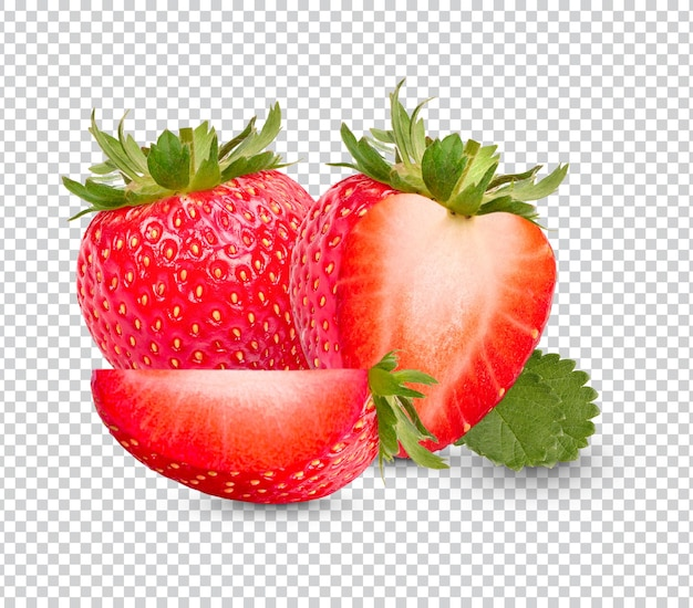 Fresh strawberries with leaves isolated design
