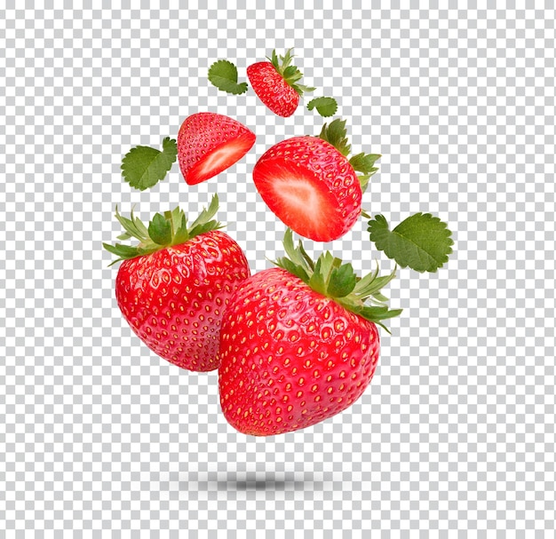 Fresh strawberries with leaves isolated