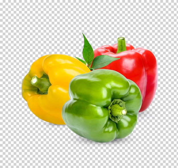 Fresh sweet pepper with leaves isolated premium psd