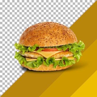 Свежий вкусный бургер, изолированные на прозрачном фоне.