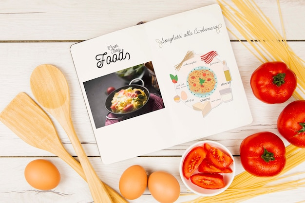 Fresh tasty foods menu book with eggs and tomatoes