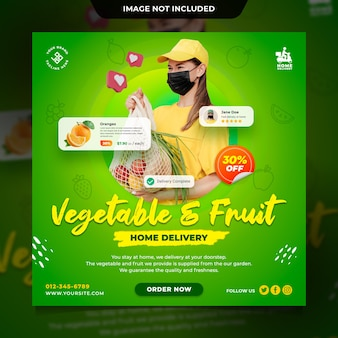 신선한 야채와 과일 배달 개념 소셜 미디어 게시물 템플릿