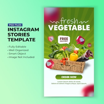 Fresh vegetable discount promotion template for social media stories