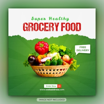 Fresh vegetable grocery sale social media post or square web banner template