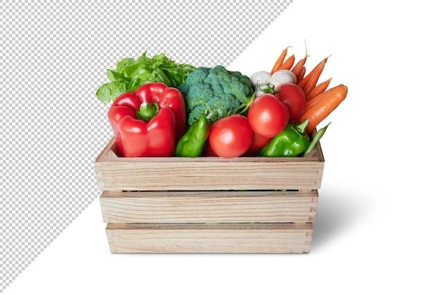 木製の箱に新鮮な野菜、モックアップ