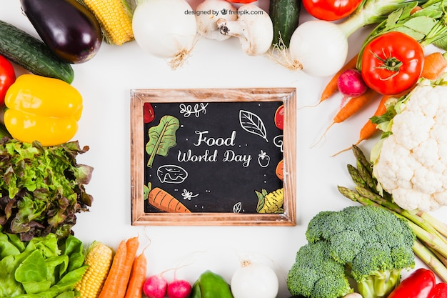 Fresh vegetables mockup with slate in middle