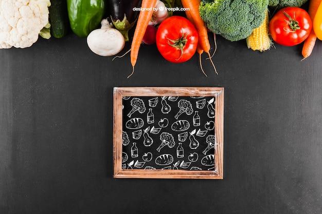 Fresh vegetables mockup with slate