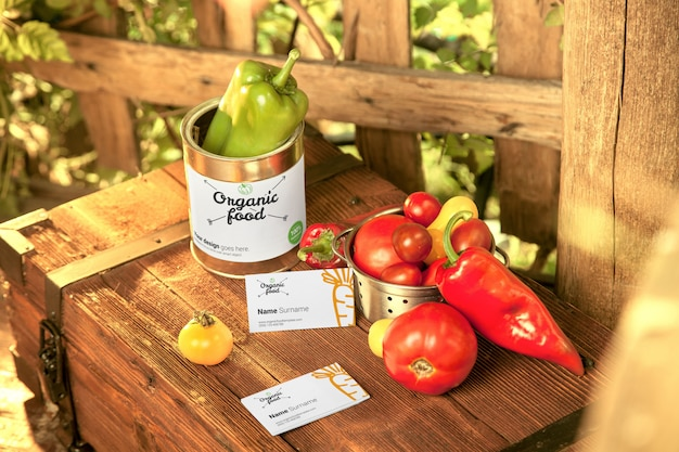 Fresh vegetables with business card mockup