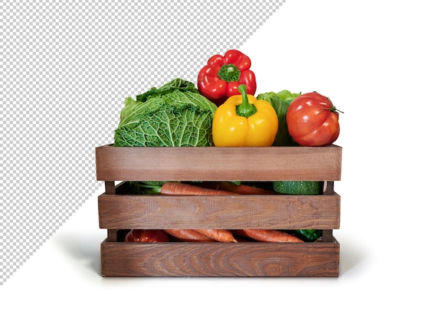 Fresh vegetables in a wooden box, mockup