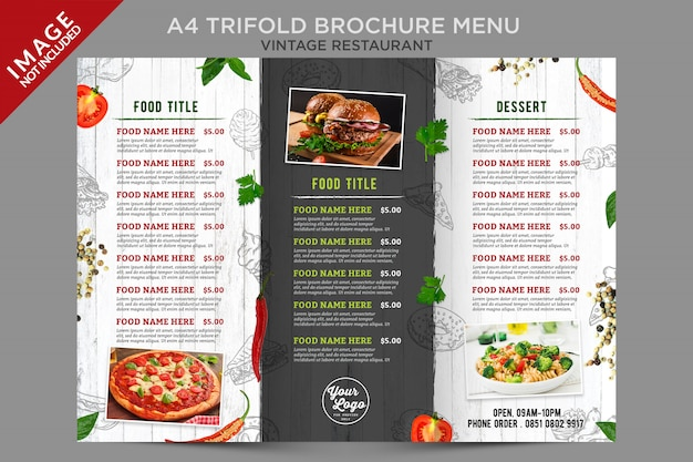 Fresh vintage food menu inside trifold series