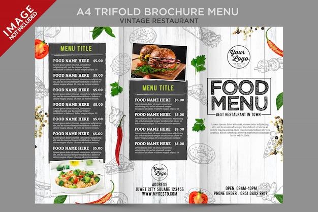 Trifold 시리즈 외부의 신선한 빈티지 음식 메뉴