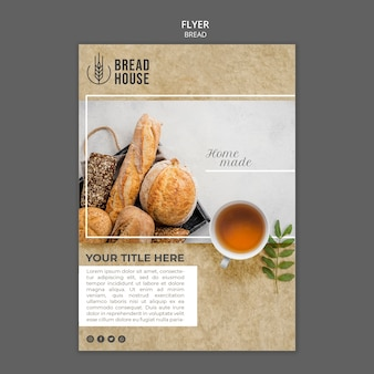 Freshly baked bread flyer template