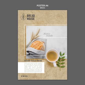 Freshly baked bread poster template