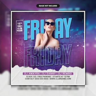 Шаблон флаера для ночной вечеринки в пятницу или сообщение в социальных сетях