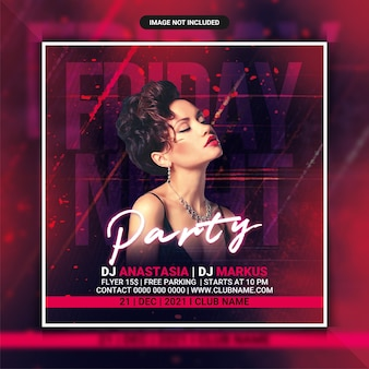 Friday club party flyer template or social media post