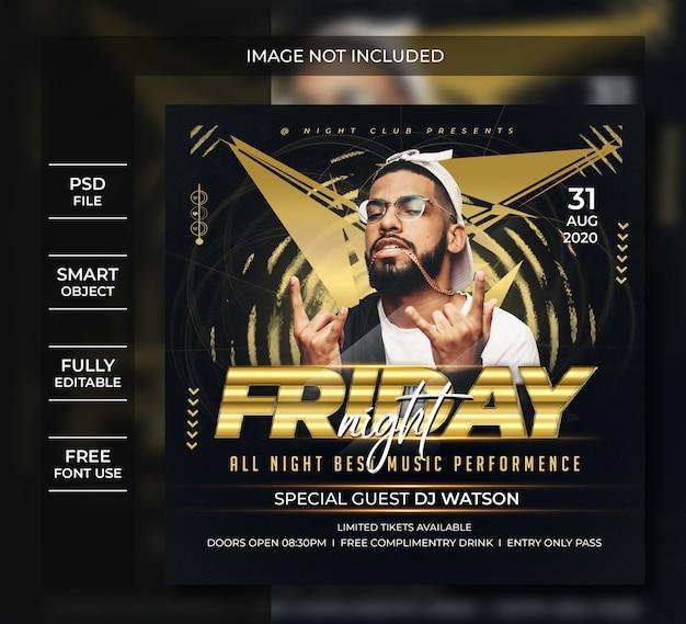 Friday night flyer template or social media post