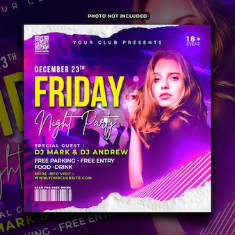 Friday night party flyer or instagram post