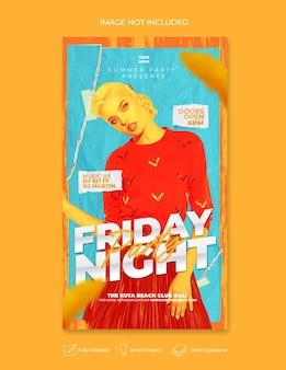 Флаер вечеринки в пятницу вечером в социальных сетях опубликовать веб-баннер