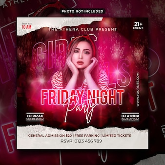 Friday night party flyer social media post and web banner