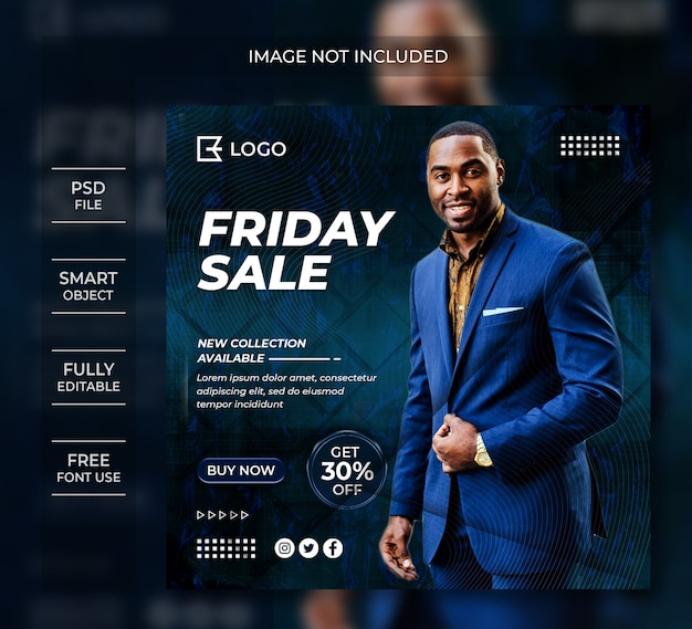 Friday sale banner template social media post
