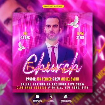 Fridays church conference flyer and social media web banner template