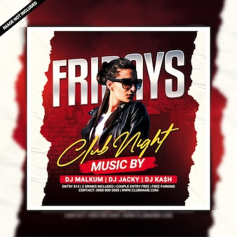 Fridays club night party flyer template