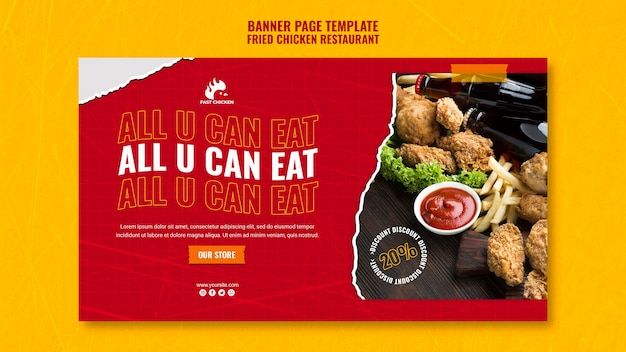 Fried chicken all you can eat banner template