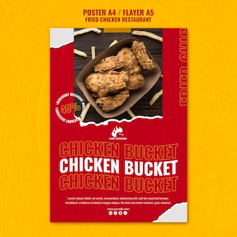 Fried chicken bucket poster template