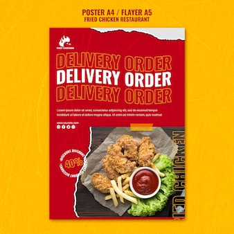 Шаблон флаера для заказа доставки жареной курицы