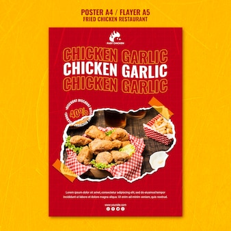 Fried chicken garlic poster template