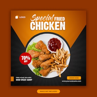 Fried chicken sale social media post banner design template