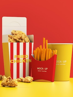 Fried food and plastic cup mockup