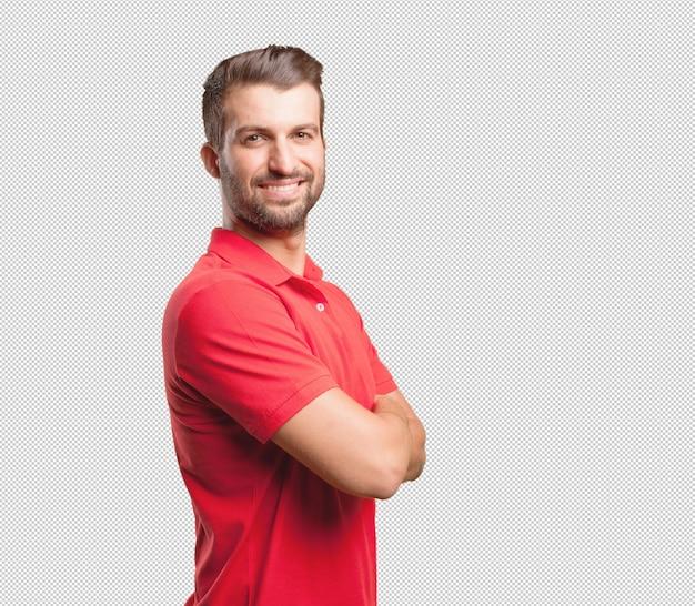 Дружелюбный мужчина в красной рубашке