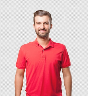 Friendly man in red shirt