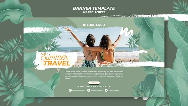 Friends on the beach summer travel banner