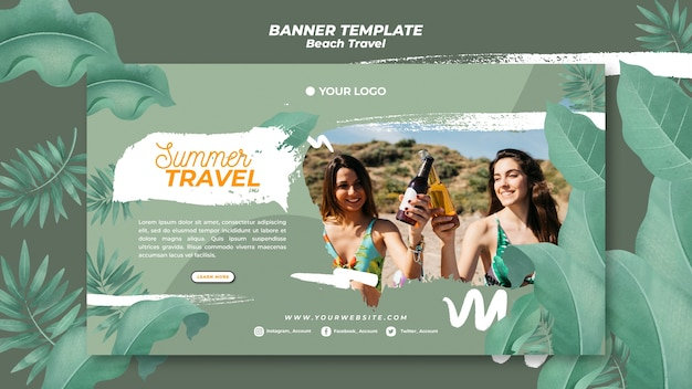 Friends cheering beer on the beach summer travel banner