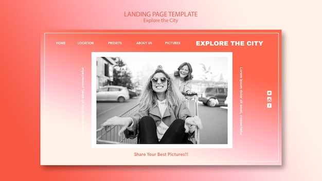 Friends in the city landing page template